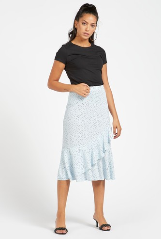All-Over Print Midi A-line Skirt with Ruffle Detail