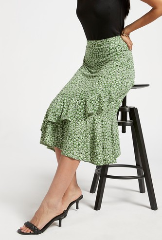 All-Over Floral Print Midi A-line Skirt with Ruffle Detail