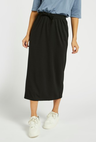 Solid Midi Pencil Skirt with Drawstring Closure