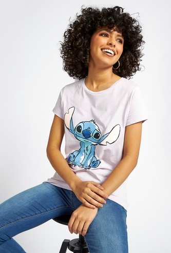 Stitch Graphic Print T-shirt with Round Neck and Cap Sleeves