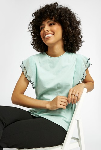Textured Top with Crew Neck and Ruffle Sleeves