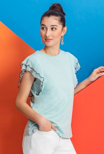 Solid Top with Crew Neck and Ruffle Sleeves