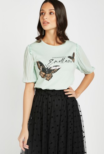 Sequin Detail Top with Round Neck and Puff Sleeves