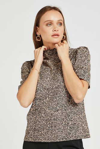 All-Over Print Top with High Neck and Short Sleeves