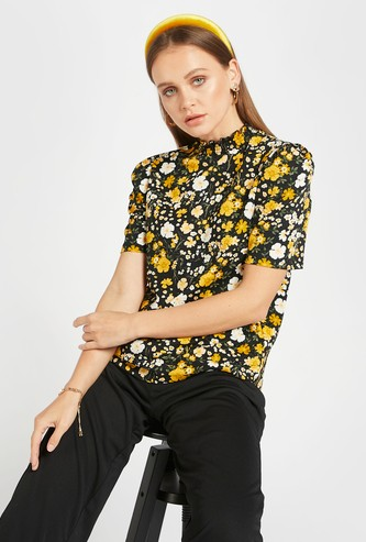 All-Over Floral Print Top with High Neck and Short Sleeves