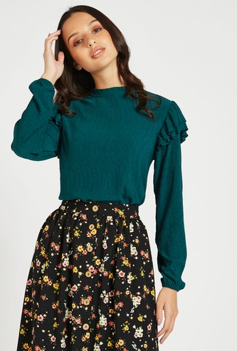 Textured Top with High Neck and Ruffle Detail