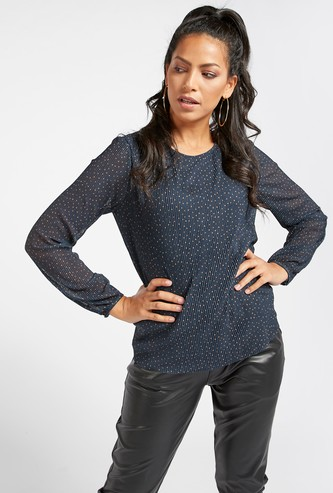 Spot Print Top with Round Neck and Mesh Detail Long Sleeves