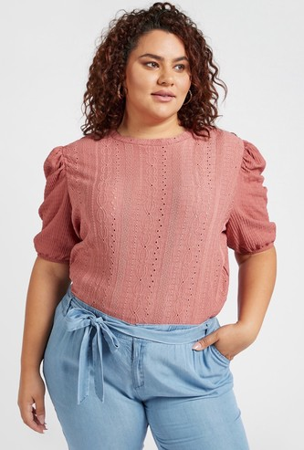Broderie Detail Top with Round Neck and Puff Sleeves