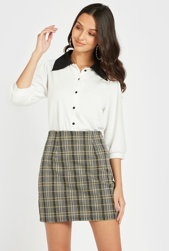 Solid Top with 3/4 Sleeves and Contrast Collar