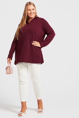 Solid Collared Longline Shirt with Long Sleeves