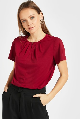 Solid Top with Pleat Detail and Short Sleeves