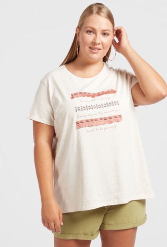 Graphic Print T-shirt with Round Neck and Tape Detail