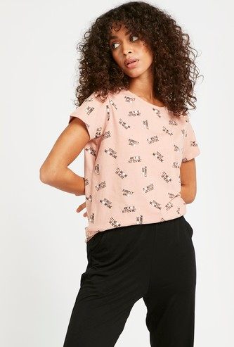 All-Over Printed Round Neck T-shirt with Cap Sleeves