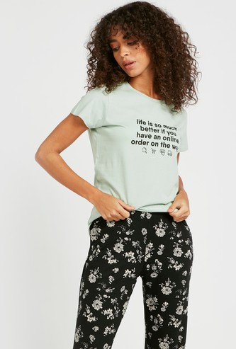 Slogan Print Round Neck T-shirt with Cap Sleeves