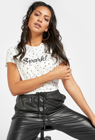 Sequins Detail Round Neck T-shirt with Cap Sleeves