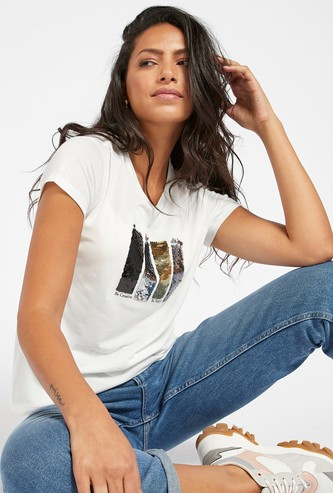 Sequin Detail Print T-shirt with Round Neck and Cap Sleeves