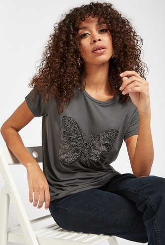 Butterfly Embellished Round Neck T-shirt with Short Sleeves