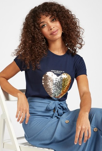Heart Sequin Embellished Round Neck T-shirt with Short Sleeves