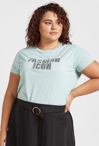 Glitter Embellished Slogan Print Round Neck T-shirt with Cap Sleeves