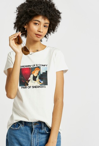 Cinderella Graphic Print T-shirt with Round Neck and Cap Sleeves