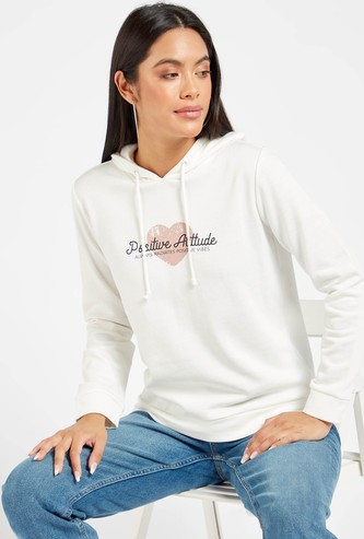 Slogan Print Sweat Top with Hood and Long Sleeves