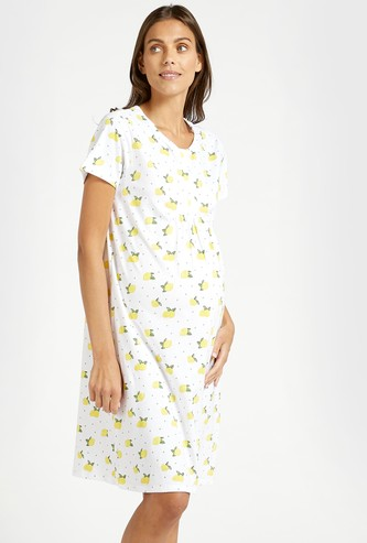 Floral Print Round Neck Maternity Sleep Shirt with Short Sleeves