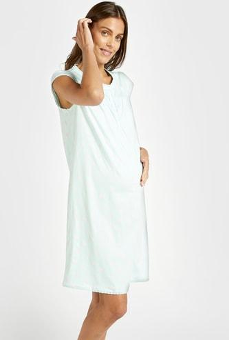 Printed Cropped Sleeveless Maternity Sleepshirt with V-neck