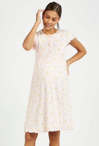 Printed Round Neck Maternity Sleepshirt with Cap Sleeves