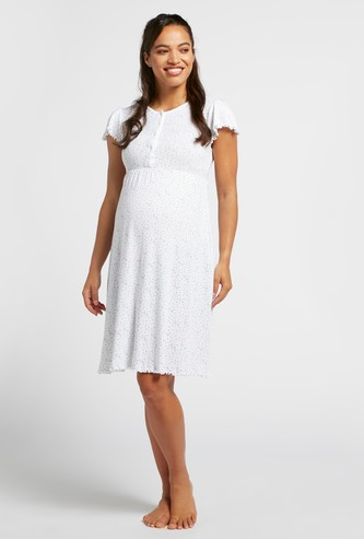 All-Over Print Maternity Sleepshirt with Round Neck