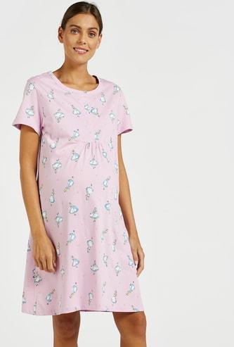 Alice in Wonderland Print Maternity Sleepshirt with Short Sleeves