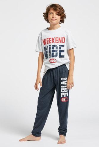 Text Print Short Sleeves T-shirt and Pyjama Set