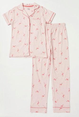 All-Over Flamingo Print Short Sleeves Sleepshirt and Pyjama Set