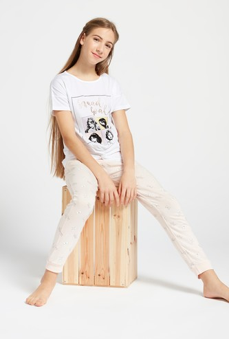 Princess Print Short Sleeves T-shirt and Pyjama Set