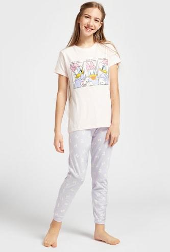 Daisy Duck Print Round Neck T-shirt and Full Length Pyjama Set