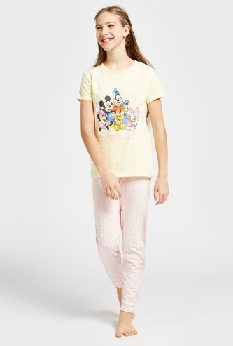 Mickey and Friends Print Round Neck T-shirt and Full Length Pyjama Set