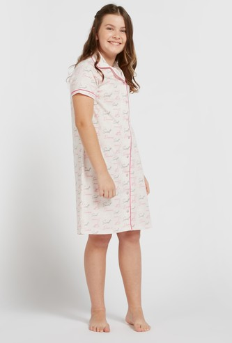 All-Over Text Print Sleepshirt with Spread Collar and Short Sleeves
