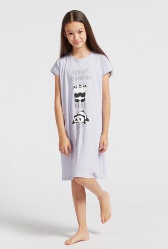 Printed Round Neck Sleepshirt with Cap Sleeves