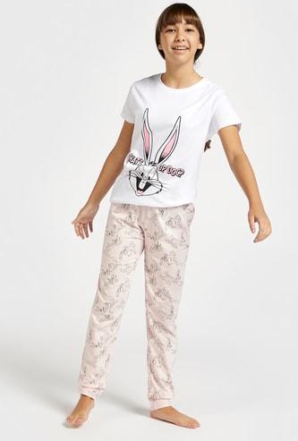 Bugs Bunny Printed Round Neck T-shirt and Pyjama Set