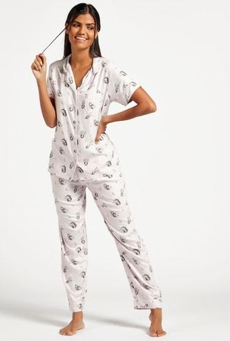 All-Over Print Short Sleeves Sleepshirt and Pyjama Set