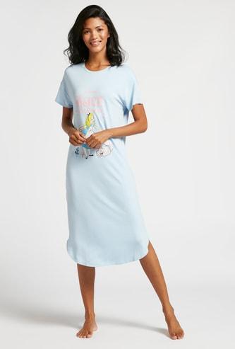 Alice in Wonderland Print Round Neck Sleepshirt with Short Sleeves