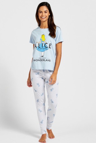 Alice in Wonderland Graphic Print T-shirt and Pyjama Set