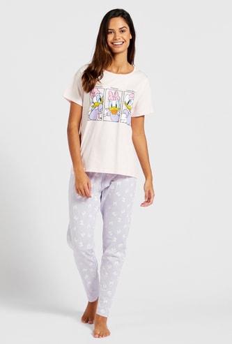 Daisy Duck Graphic Print Short Sleeves T-shirt and Pyjama Set