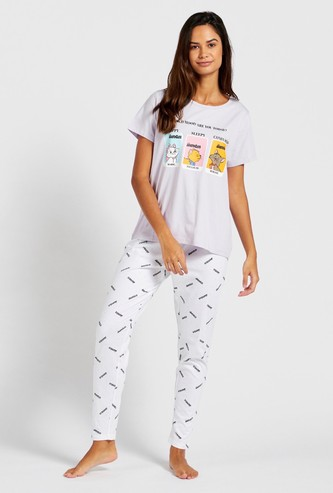 Marie Graphic Print Short Sleeves T-shirt and Pyjama Set