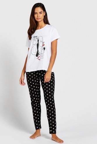 Cruella Graphic Print Short Sleeves T-shirt and Pyjama Set