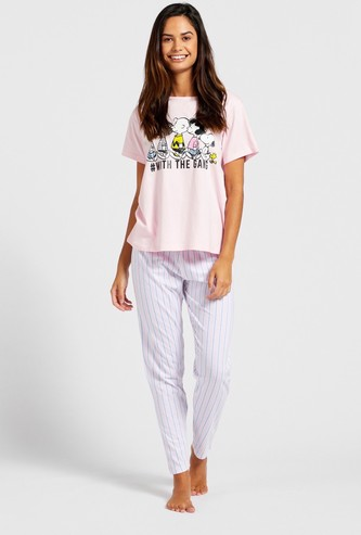 Snoopy Graphic Print T-shirt and Striped Pyjama Set