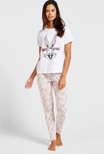 Bugs Bunny Print Round Neck T-shirt and Full Length Pyjama Set