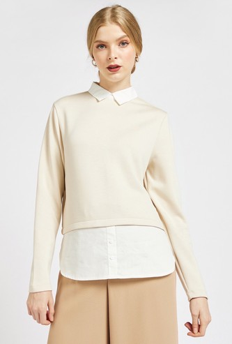 Solid 2-in-1 Formal Top with Collar and Long Sleeves