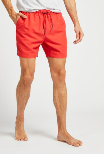 Solid Surfer Shorts with Pockets and Drawstring