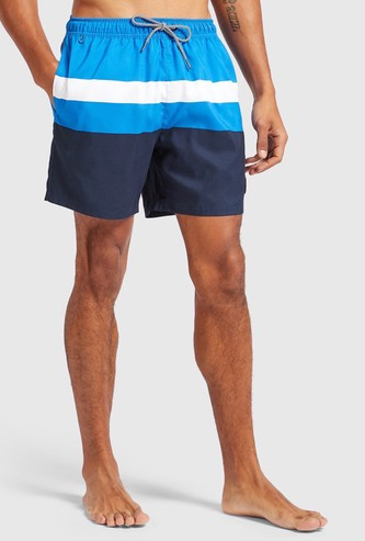 Striped Shorts with Pocket Detail and Drawstring Closure
