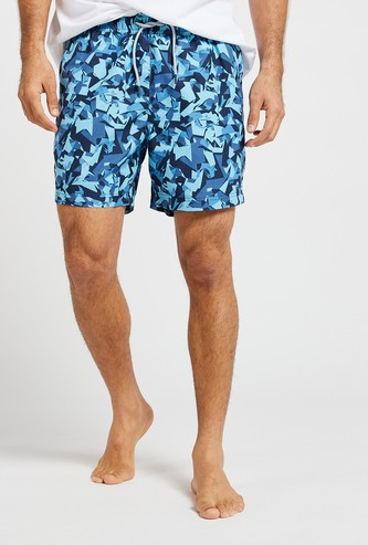 All-Over Print Surfer Shorts with Drawstring Waist and Pockets